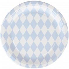 Assiettes en carton losanges bleu clair (8 pièces)