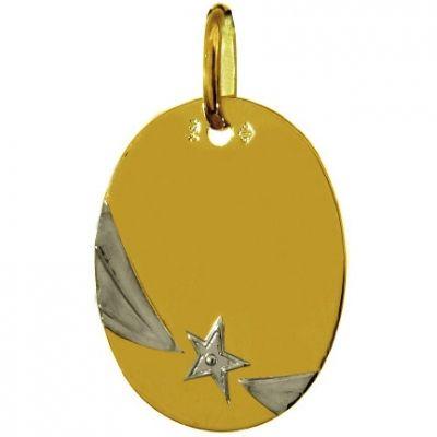 Médaille ovale Etoile filante (or jaune 750°)