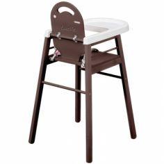 Chaise haute Lili en bois massif laqué taupe (personnalisable)