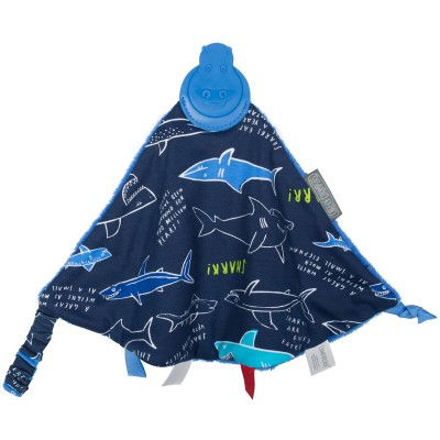 Doudou réversible requins avec embout de dentition Cheeky Chompers