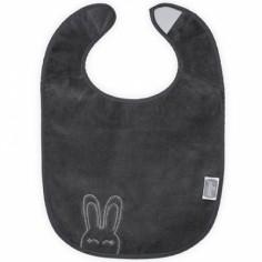 Bavoir plastifié à velcro Sweet bunny gris anthracite