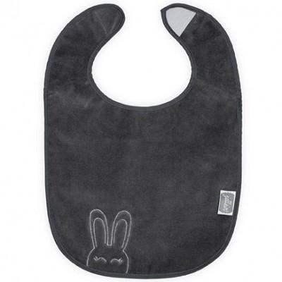 Bavoir plastifié à velcro Sweet bunny gris anthracite Jollein