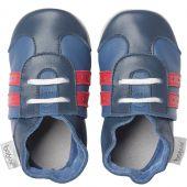 Chaussons bébé en cuir Soft soles Basket bleus  (3-9 mois) - Bobux