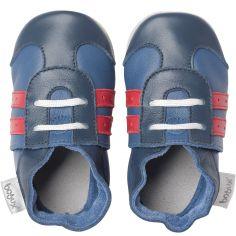 Chaussons bébé en cuir Soft soles Basket bleus  (3-9 mois)