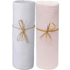 Lot de 2 draps housses en coton bio blanc et rose poudré (60 x 120 cm)
