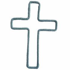 Déco murale croix en tricotin (coloris personnalisable)