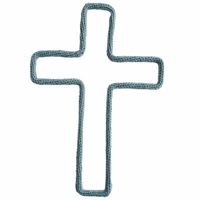 Déco murale croix en tricotin (coloris personnalisable) Charlie & June