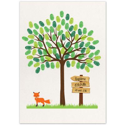 Kit arbre à empreintes renard personnalisable (A4) La Poupette à paillettes