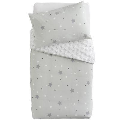 Housse de couette + taie d'oreiller imprimé Little stars étoiles grises (100 x 140 cm)   par Domiva
