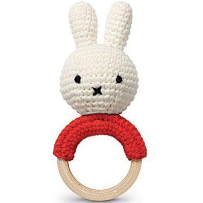 Hochet anneau de dentition Miffy rouge  par Just Dutch