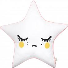 Coussin Sleepy Dolly Star étoiles joues jaunes et passepoil rose  par Rose in April