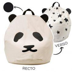 Pouf géant panda et étoiles poignée noire (80 x 110 cm)