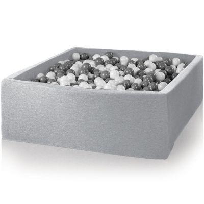 Piscine à balles carrée gris clair personnalisable (130 x 130 x 50 cm)