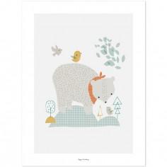 Affiche l'ours des bois (30 x 40 cm)