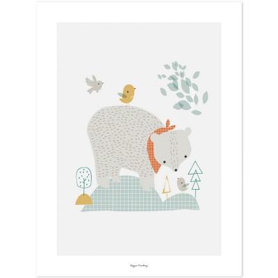 Affiche l'ours des bois (30 x 40 cm)  par Lilipinso