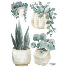 Stickers Greenery plantes et pots (29,7 x 42 cm)