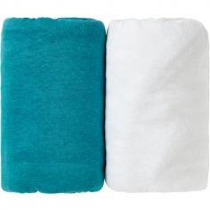 Lot de 2 draps housse bleu canard Tropical et blanc (60 x 120 cm)