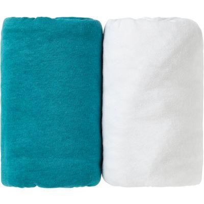 Lot de 2 draps housse bleu canard Tropical et blanc (60 x 120 cm)  par Babycalin