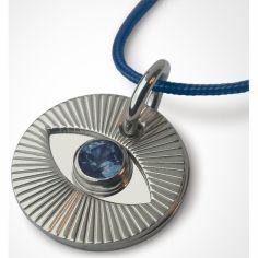 Collier cordon Cyclope avec saphir bleu (or blanc 750°)