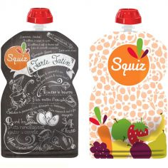 Pack de 2 gourdes réutilisables Foodie couleurs (130 ml)