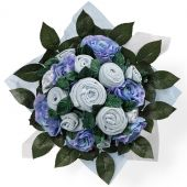 Bouquet de naissance Luxury Rose bleu (11 pièces) - BabyBlooms