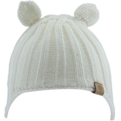 Bonnet en tricot avec oreilles écru (6-12 mois)