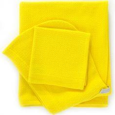 Cape de bain et gant jaune citron (100 x 60 cm)