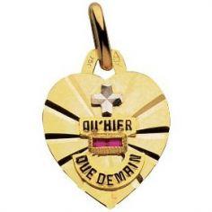 Médaille forme coeur d'Amour 13,5 x 12,3 mm polie diamantée (or jaune 750°)