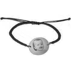 Bracelet macramé avec photogravure 1 visage (argent 925°)