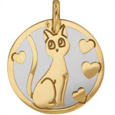 Médaille Chat personnalisable (acier et or jaune 750°)