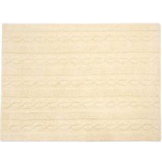 Tapis lavable unis à torsades vanille (120 x 160 cm)