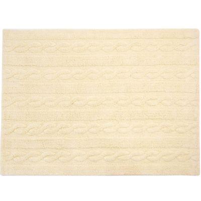 Tapis lavable unis à torsades vanille (120 x 160 cm)  par Lorena Canals