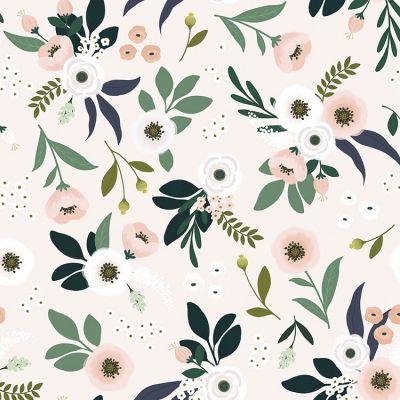 Papier peint intissé Wonderland anémones fond poudré (10 m) Lilipinso
