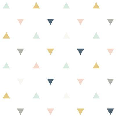 Papier peint motif triangles rose moutarde gris (10 m)