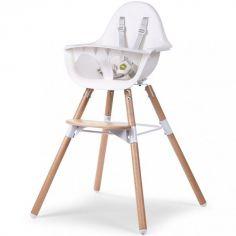Chaise haute en bois naturel Evolu 2 blanc