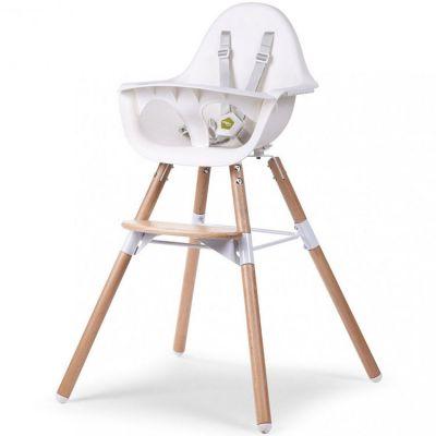 Chaise haute en bois naturel Evolu 2 blanc  par Childhome