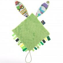 doudou plat attache sucette lapin vert par cuddly zoo. Black Bedroom Furniture Sets. Home Design Ideas