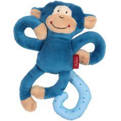 Hochet peluche singe bleu (17 cm)
