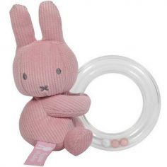 Hochet anneau à billes Miffy rose velours - Pioupiou et Merveilles
