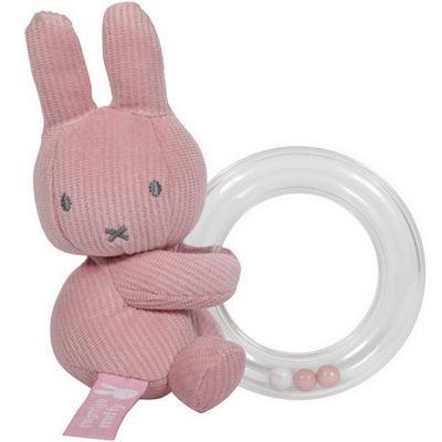 Hochet anneau à billes Miffy rose velours  par Pioupiou et Merveilles