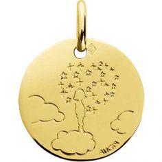 Médaille Enfant la tête dans les nuages 16 mm personnalisable (or jaune 750°)