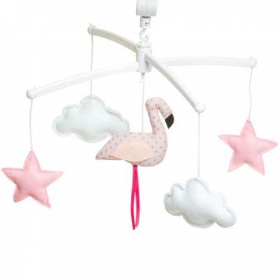 Mobile musical flamant rose pastel (mélodie au choix)  par Pouce et Lina