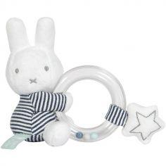 Hochet anneau à billes lapin Miffy marinière