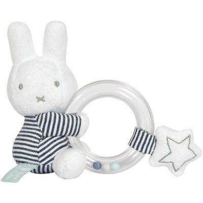 Hochet anneau à billes lapin Miffy marinière  par Pioupiou et Merveilles