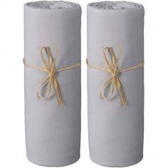Lot de 2 draps housses en coton bio gris perle (60 x 120 cm)
