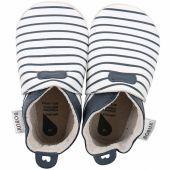 Chaussons bébé en cuir Soft soles Rayés bleus  (3-9 mois) - Bobux