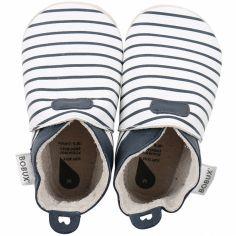 Chaussons bébé en cuir Soft soles Rayés bleus  (3-9 mois)