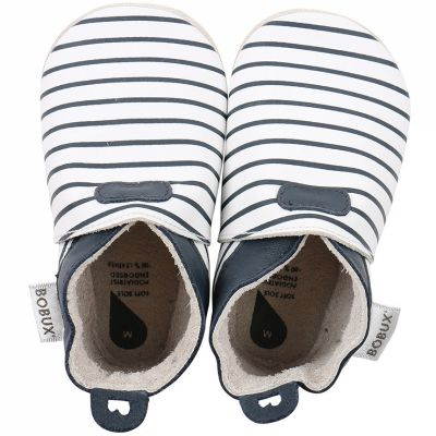 Chaussons bébé en cuir Soft soles Rayés bleus  (3-9 mois)  par Bobux