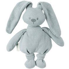 Peluche en tricot lapin vert-de-gris Lapidou (36 cm)