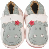 Chaussons cuir Victoria rose (0-6 mois) - Noukie's